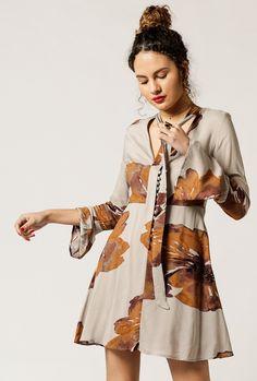 Azalea - Floral Print Flare Dress
