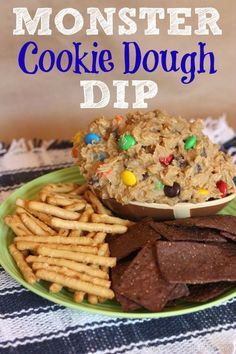 Monster Cookie Dough Dip has chocolate chips, candy & peanut butter, like the classic cookie, but a secret ingredient makes it eggless and flourless. Monster Cookie Dough, Cookie Dough Dip, Appetizer Recipes, Snack Recipes, Dessert Recipes, Appetizers, Kid Recipes, Monster Party, Delicious Desserts