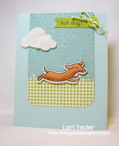 Inking Aloud: Hot Dog, made with Lawn Fawn's Critters at the Dog Park stamps and dies