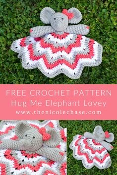 crochet elephant pattern Hug Me Elephant Lovey - Free Crochet Pattern Nicole Chase Cute Simple Baby Amigurumi Blanket Security Toy Crochet Baby Toys, Crochet Patterns Amigurumi, Crochet Blanket Patterns, Baby Blanket Crochet, Kids Crochet, Crocheted Baby Blankets, Dress Patterns, Free Applique Patterns, Elephant Baby Blanket