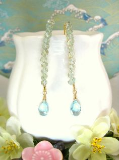 Aquamarine sky blue topaz gold hook earrings by KBlossoms on Etsy, $48.00