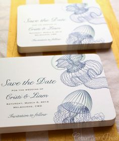 3 Unusual Beach Wedding Invitations and Save the Dates : Jellyfish, Squid and Octopus