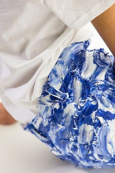 Faustine Steinmetz has been shortlisted for the LVMH Prize for Young Designers and talks with us about the growth of her brand. Faustine Steinmetz, Crinoline Dress, Denim Art, Fashion Art, Fashion Design, Fashion Textiles, Bleached Denim, Central Saint Martins, Blue China
