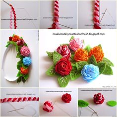 These little ric-rac flowers are adorable - you just want to put them everywhere! Some assorted ric-rac, scraps and felt and a few other tools are all you need to make these gorgeous buds. Faux Flowers, Diy Flowers, Crochet Flowers, Fabric Flowers, Paper Flowers, Crochet Crafts, Sewing Crafts, Confection Au Crochet, Fleurs Diy