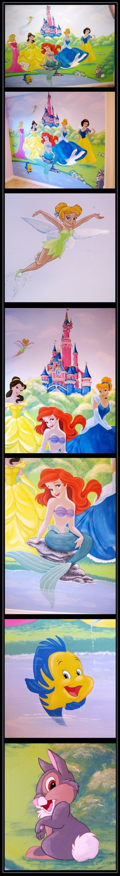 Disney mural on pinterest disney rooms disney wall for Disney princess ballroom mural