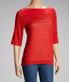 Take a look at this Red Shimmer Three-Quarter Sleeve Top by Simply Irresistible on #zulily today!