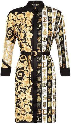 Versace Mixed Print Silk Twill Shirt Dress for Women Mélanger Les Impressions, Black Women Fashion, Womens Fashion, Ladies Fashion, Versace Dress, Versace Versace, Twill Shirt, En Stock, Gucci