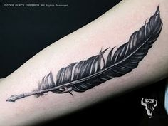 """Feather quill writing """"I write my own future"""" or something similar.I like this feather either way Quill Pen Tattoo, Feather Pen Tattoo, Tinta Tattoo, Pencil Tattoo, Tattoo Fonts, Feather Tattoo Design, Trendy Tattoos, Small Tattoos, Feather Tattoos"""