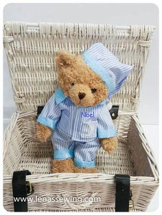 Lovely Teddy Bear wearing Pj's Ideal for Storytime! Gift Wraping, Cellophane Wrap, Rag Dolls, Pjs, Wraps, Teddy Bear, Babies, Embroidery, Knitting