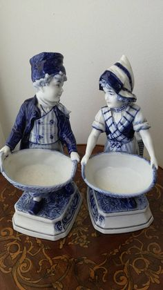 Delf Figurines Amazing Authentic Antique DELF Pair Figurines Beautiful Blue & White pair of Girl and Boy Figurines Date to 1900c H: 10 Inches
