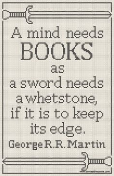 Cross stitch a book quote