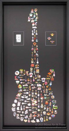 Hard Rock Cafe pins, mounted in the shape of a guitar, was a time-consuming project but certainly well worth it. According to our customer, we took 20 years of traveling and turned it into a work of art. Incredible!