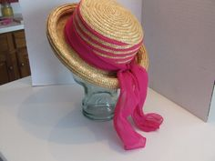 Vintage Straw Hat Rolled Brim Straw Hat Straw by BeautyMeetsTheEye
