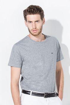 Pedro del Hierro Camiseta liso logo bordado gris