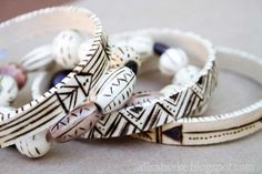 Wood burning +small embroidery hoop + paint = bracelet. Another awesome idea from Alissa Burke