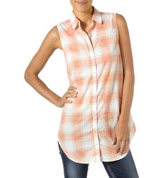 Love this Orange & White Plaid Silk-Blend Sleeveless Tunic by Silver Jeans Co. Orange Amps, Plaid Tunic, Kinds Of Clothes, Sleeveless Tunic, Silver Jeans, White Plaid, Vintage Denim, Plus Size, Silk