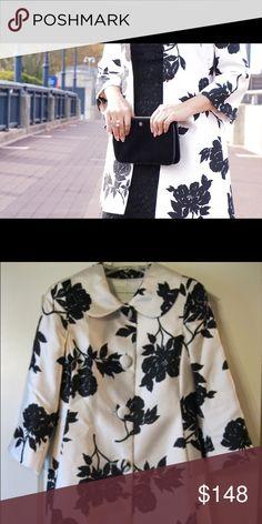 Banana Republic Black & White Floral Silk Jacket Banana Republic Black & White Floral Silk Jacket. Fully lined. 3/4 sleeve. Like new. Banana Republic Jackets & Coats