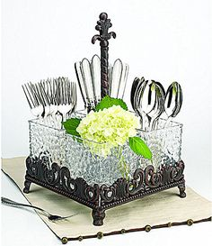 Artimino Venetian Hammered Glass Flatware Caddy #Dillards - This is great! It has 4 compartments. Most caddies only have 3.