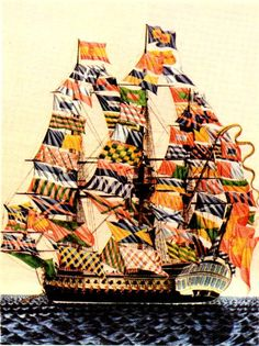 Barco español de comienzos del siglo XIX engalanado con banderas de señales