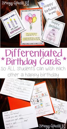 How do you celebrate birthdays in your special education classroom? We love to make each other cards and pass them out as part of a little party where the birthday boy/girl choose the Happy Birthday youtube video to watch! These cards include symbol support, tracing, and sentence starter support so there is a level for every individual in your class!