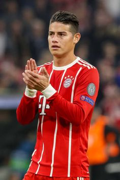 James Rodriguez of Bayern Muenchen gestures during the UEFA Champions League group B match between Bayern Muenchen and Celtic FC at Allianz Arena on...