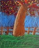 """Second graders used oil pastels to create their beautiful fall trees. We talked about how to use white to """"highlight"""" the trees and fences for a more three-dimensional look."""