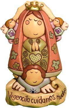 Virgen de pared de cerámica pintada a mano. Medidas: 35x27cm. www.barenka.com