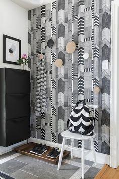 Decor, Interior, Home, Porch Entry, Printed Shower Curtain, Marimekko, Wall Painting, Inspiration, Interior Design