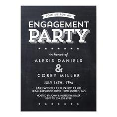MODERN CHALKBOARD ENGAGEMENT PARTY INVITATION
