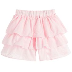 Girls pale pink tiered cotton shorts by Lili Gaufrette with layers of fine cotton covered in tiny, delicate spots. There is an elasticated waistband and the designer's logo tab sewn on the hemline at the front. These pretty shorts are fully lined and loose-fitting and are designed to look like a skirt when worn.