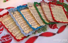 vintage grey: crocheted edge christmas carols