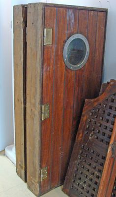 Vintage Teak Ship's Passageway Door with Frame - nautical reclamations for the beach house interior. I want all my guests to believe I am a gem mint ten scavenger of local shipwrecked shoals