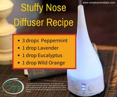 Stuffy Nose Diffuser Recipe http://simplyaromalabs.com/diffuser-recipes-part-2/ #simplyaroma #essentialoils #easy