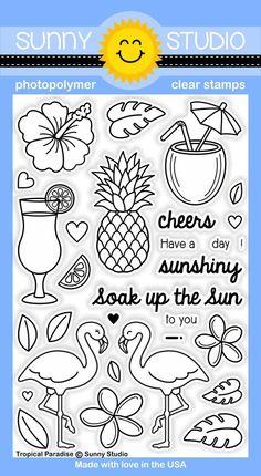Sunny Studio - Tropical Paradise stamp set - bjl