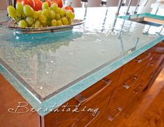 Beautiful (+durable & hygenic) recycled glass countertops from ThinkGlass!