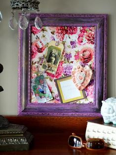 Get organized by upcycling old picture frames into new cork bulletin boards.  Cover the cork in colorful fabric to customize the look.