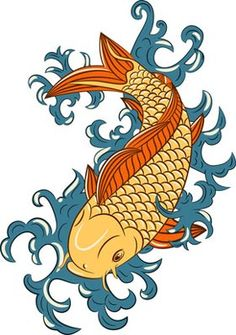 Carp Koi Fish Tattoos – Symbols of Power, Luck, Bravery... hmmm small on scale, two forming a circle, one black one golden orange , water beautiful blue... imagine it... rib cage...