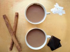 Superfoods Spicy Hot Chocolate made with coconut milk is so creamy and delicious! YUM! #chocolate #recipes