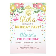 Luau tropical d'anniversaire d'invitation de carton d'invitation  12,7 cm x 17,78 cm
