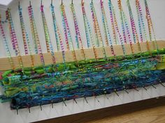pin weaving by kimberly sherrod -- as interesting embellishments to small bags