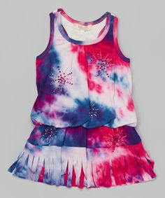 Look what I found on #zulily! Blue & Red Tie-Dye Racerback Dress - Infant, Toddler & Girls by Baby Sara #zulilyfinds