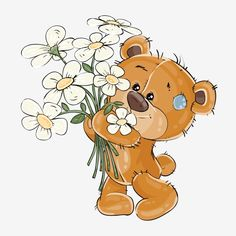 Buy Brown Teddy Bear Holding Flowers by vectorpocket on GraphicRiver. Vector illustration of a brown teddy bear holding a bouquet of flowers in his paws. Print, template, design element f. Tatty Teddy, Brown Teddy Bear, Cute Teddy Bears, Nici Teddy, Cartoon Drawings, Cute Drawings, Pictures To Draw, Cute Pictures, Art D'ours