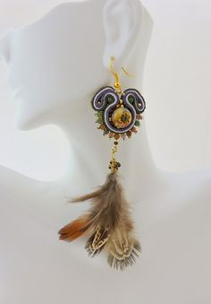 Brown Grey and Olive Feather Soutache by SpotsandDotsDesign, $50.00