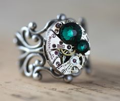 Clockwork Ring Emerald Green Round - Ready to Ship Welcome to Inspired by Elizabeth, where old world design meets contemporary flair. Swarovski Ring, Swarovski Crystals, Vintage Silver, Antique Silver, Unique Rings, Unique Jewelry, Steampunk Rings, Green Rings, Vintage Watches
