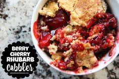It's rhubarb season! Celebrate with a simple body-cherry-rhubarb cobbler. Use fresh or frozen berries and finely chopped rhubarb. Cherry pie filling offsets the tangy fruit. Consider substituting a spice cake mix for extra zing. Rhubarb Cobbler, Rhubarb Cake, Cherry Cobbler, Rhubarb Desserts, Rhubarb Recipes, Rhubarb Dishes, Rhubarb Ideas, Gourmet Recipes, Dessert Recipes