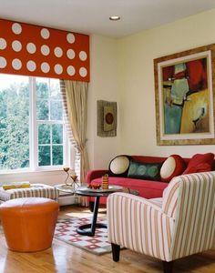 tissus d'ameublement en rouge et blanc à rayures pour le fauteuil et le canapé