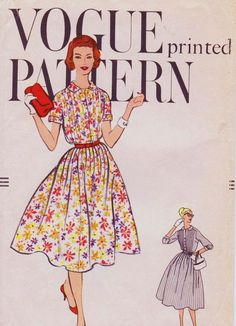Vintage 1950s Vogue Printed Sewing Pattern 9455 Womens One Piece Rockabilly Dress Size 16 Bust 36 UnCut by CloesCloset on Etsy https://www.etsy.com/listing/169861086/vintage-1950s-vogue-printed-sewing