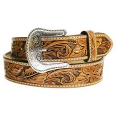 A hand tooled floral pattern leather belt designed for any occasion, whether dress or work. Western Belts, Hand Tools, Random Things, Westerns, Ranch, Bar, Google Search, Floral, Clothing