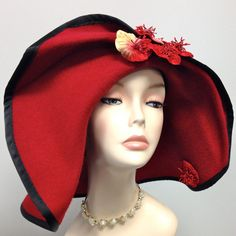 Red CASHMERE Rare Large Brim Women's HatHand by MakowskyMillinery, $275.00