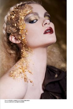 Gold gilded beauty with makeup by Dianna Quagenti and photography by Natalia Borecka for Faint Magazine February 2011.
